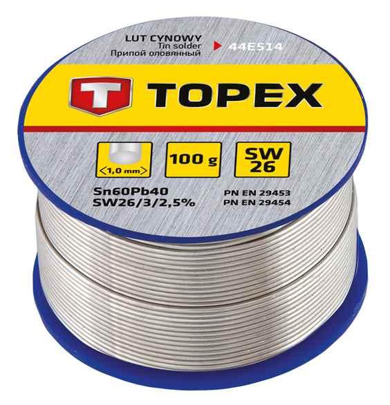 Припiй TOPEX олов'яний 60%Sn, дрiт 1.0 мм,100 г, 44E514 купить в интернет-магазине Dinar ☎ (099) 160 34 55 ✓ лучшие цены ✓ бесплатная доставка от 1000 грн ✓ отзывы и фото