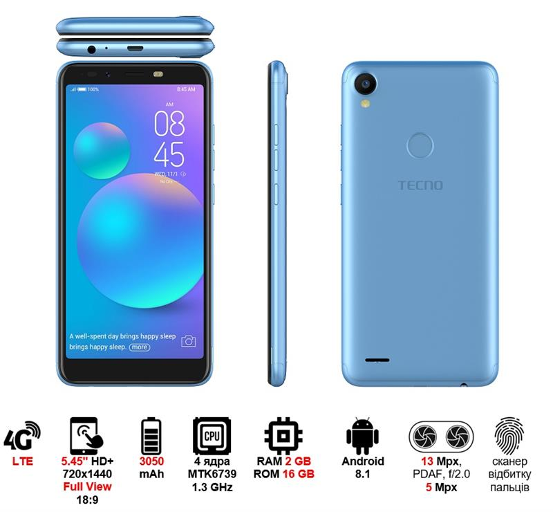 Смартфон TECNO POP 1s pro (F4 pro) DUALSIM City Blue в интернет-магазине Dinar ☎ (099) 160 34 55 ✓ лучшие цены ✓ бесплатная доставка от 1000 грн ✓ отзывы и фото